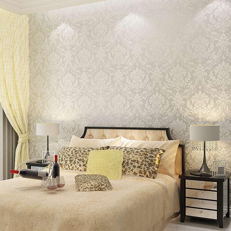 本木欧式大气客厅背景墙电视大花墙纸卧室家装满铺