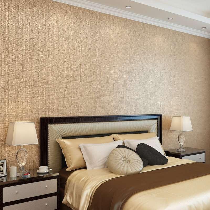 欧式简约卧室无纺布墙纸客厅满铺个性素纯色