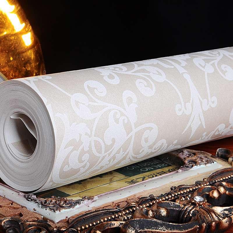 菱形大花墙纸欧式无纺布大马士革卧室房间个性壁纸特价欧派壁纸