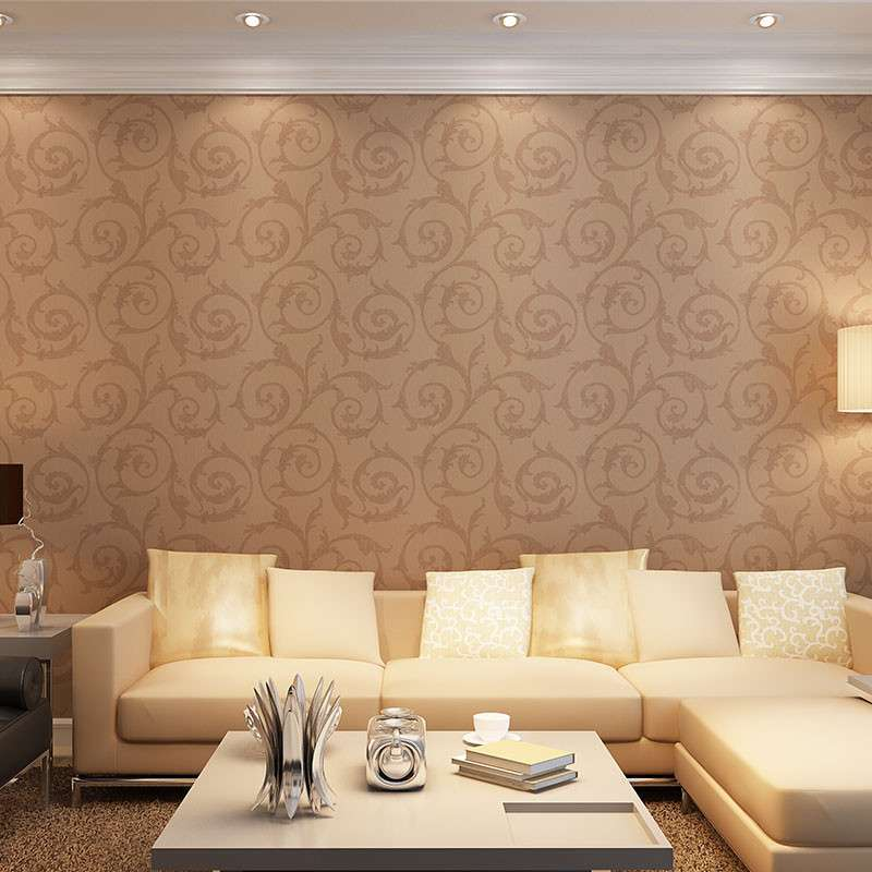 欧式大花墙纸配沙发图片