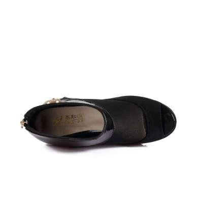 老北京新品夏季2014鱼竿网纱坡跟鱼嘴凉鞋罗伽玛卡兹布鞋图片