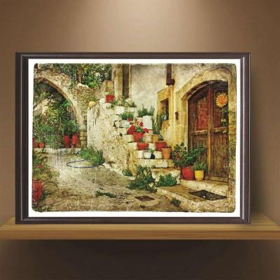 欧式墙画复古装饰画客厅地中海风景挂画组合乡村卧