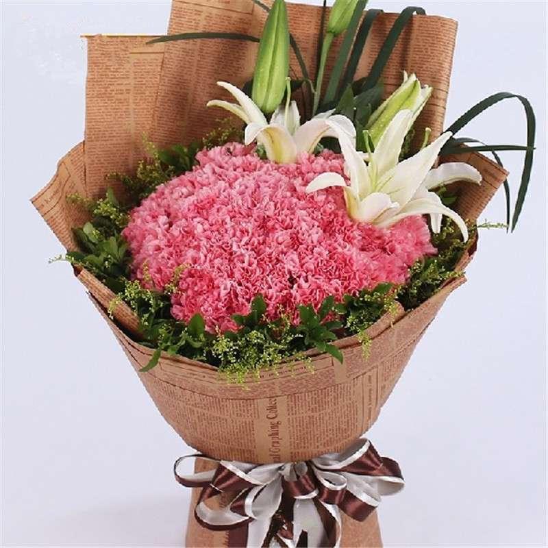 爱的印记 鲜花速递 康乃馨百合鲜花花束