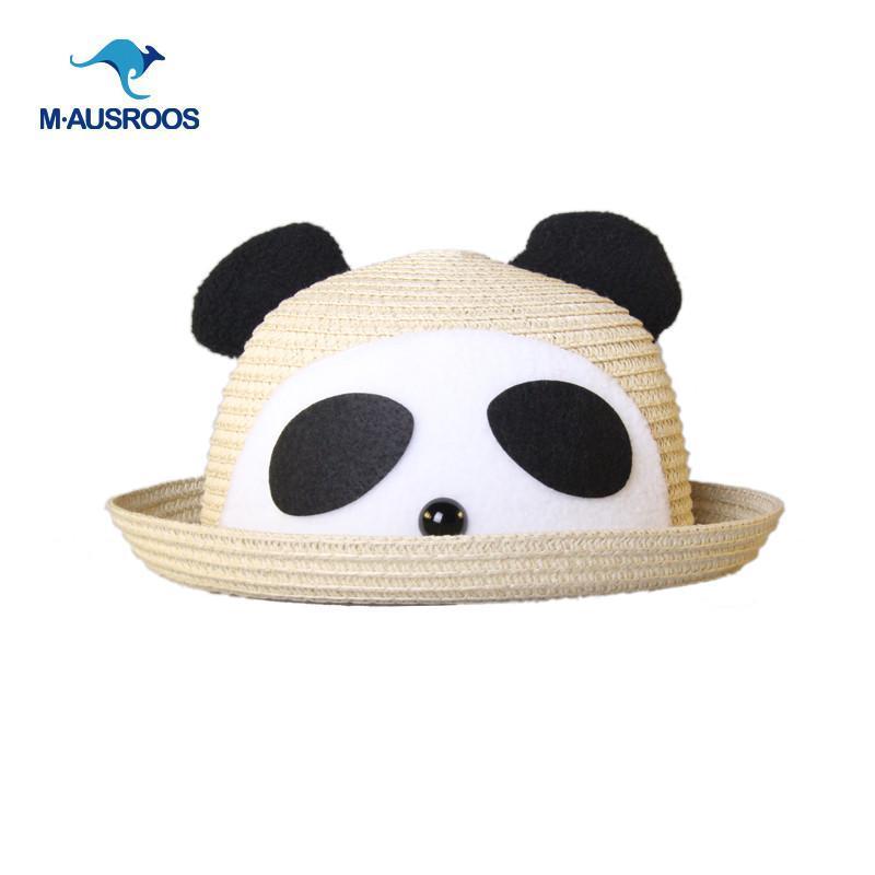 韩国可爱超萌卡通动物小鹿熊猫兔宝宝遮阳草帽子小孩女儿童帽春夏 e咖