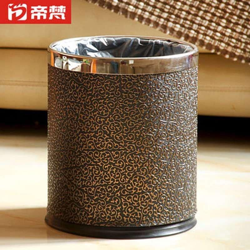 【帝梵】帝梵奢华黑金皮质垃圾桶收纳桶双层金属创意