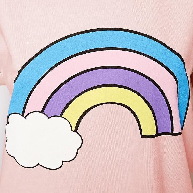 richcoco欧美清新可爱云朵彩虹手绘印花卷边短袖圆领t恤包邮d353 粉色