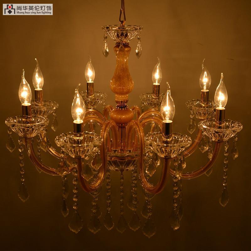 尚华英伦 欧式水晶蜡烛灯 水晶吊灯 土豪金水晶吊灯 6头
