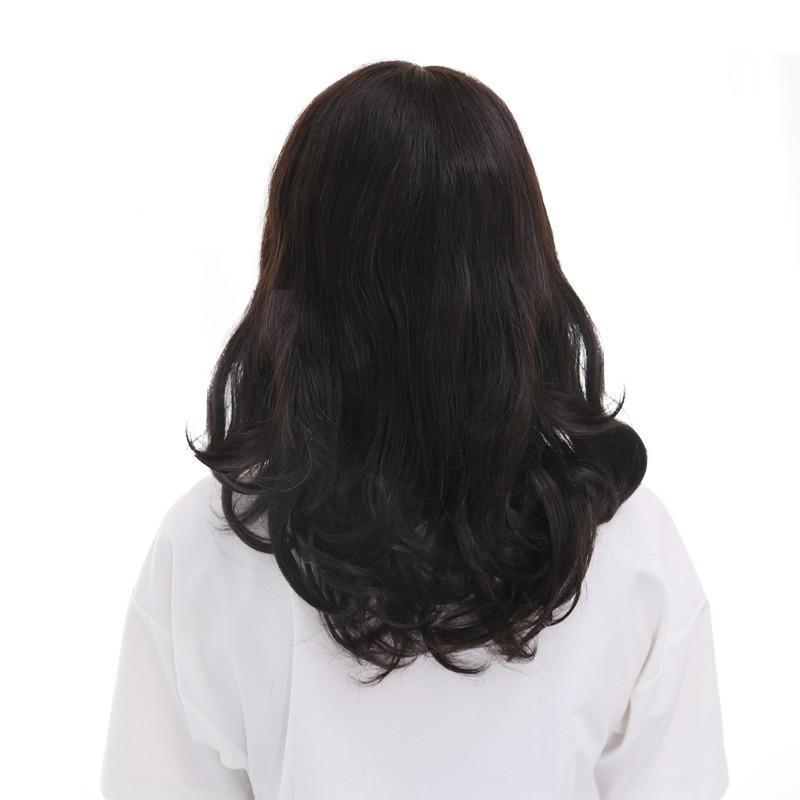 邦德 真发假发 斜刘海修脸少女假发套 披肩中长梨花卷发自然黑色 黑色