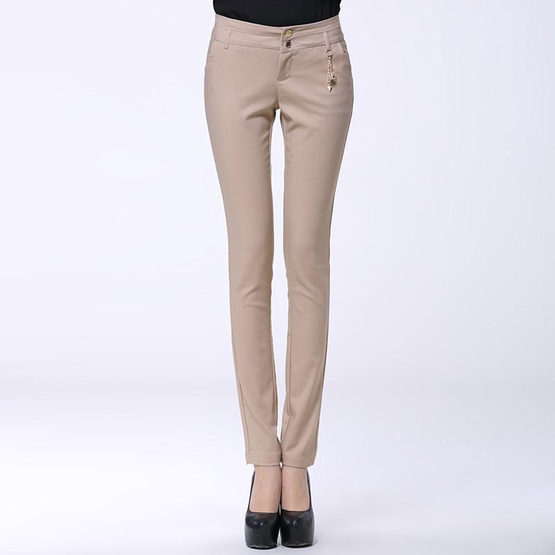 秋季新款女装花边口袋休闲裤韩版小脚铅笔裤