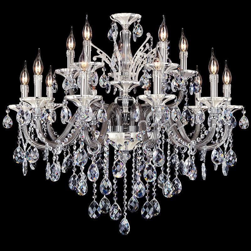 锌合金水晶吊灯黑色水晶吊灯欧式灯卧室灯饰客厅灯具led水晶吊灯