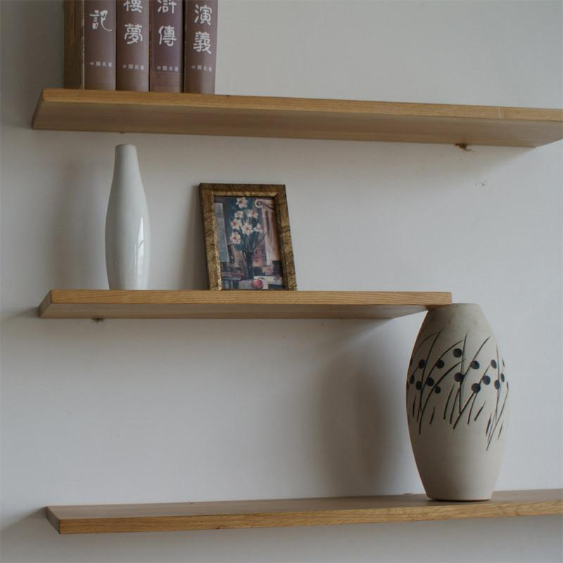 jbt/佳佰庭100%白橡木墙架实木家具木搁隔板qj101一字架置物架 1.2米