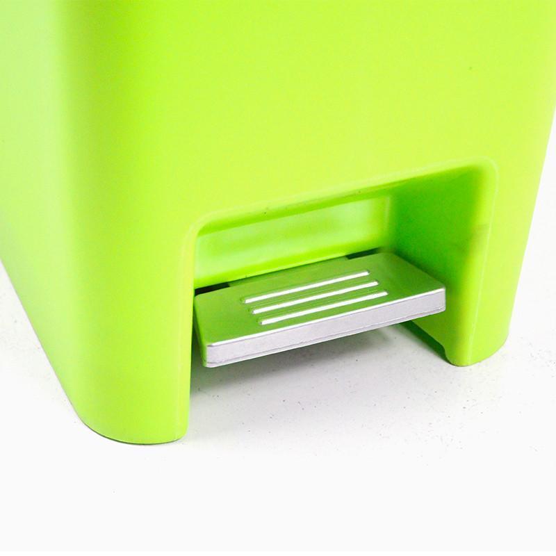 中号15l绿色脚踏式缓冲型双盖垃圾桶家用杂物