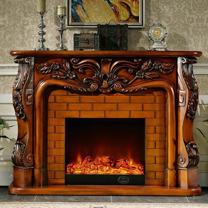 6米欧式壁炉装饰柜 美式电视柜 实木壁炉架 真火电壁炉芯 bl89 套餐一