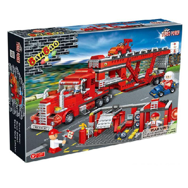 邦宝积木 益智拼插小颗粒积木儿童玩具红色货柜车