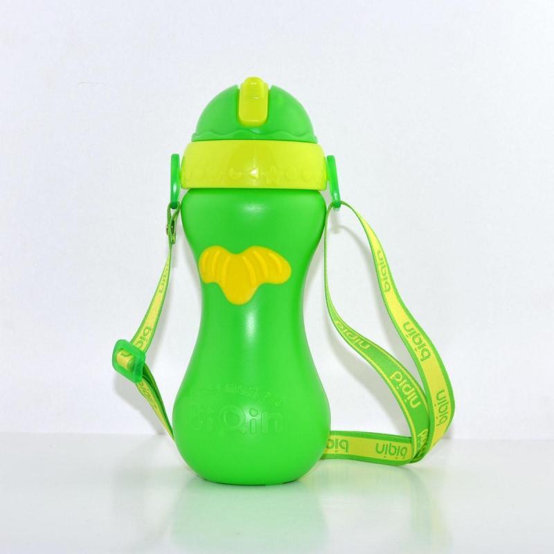 滑盖防滑运动水壶 宝宝彩色卡通吸管壶