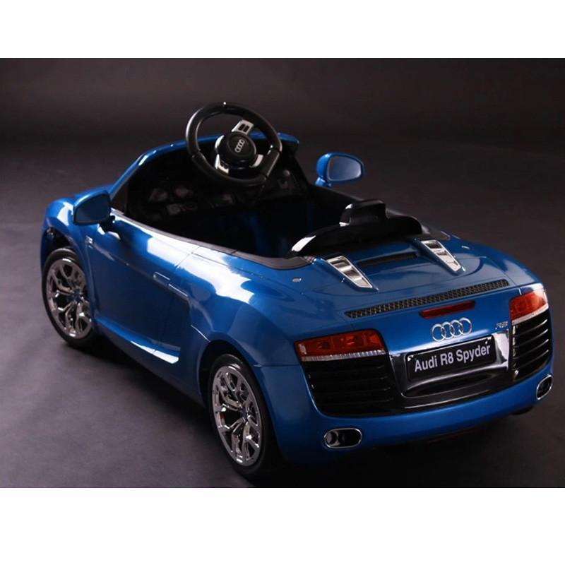 快乐年华 奥迪r8儿童电动车玩具车儿童可坐四轮电动汽车 朱白12v