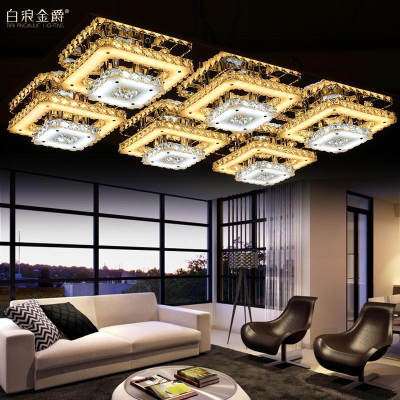 白浪金爵客厅灯现代简约led吸顶灯水晶灯长方形卧室