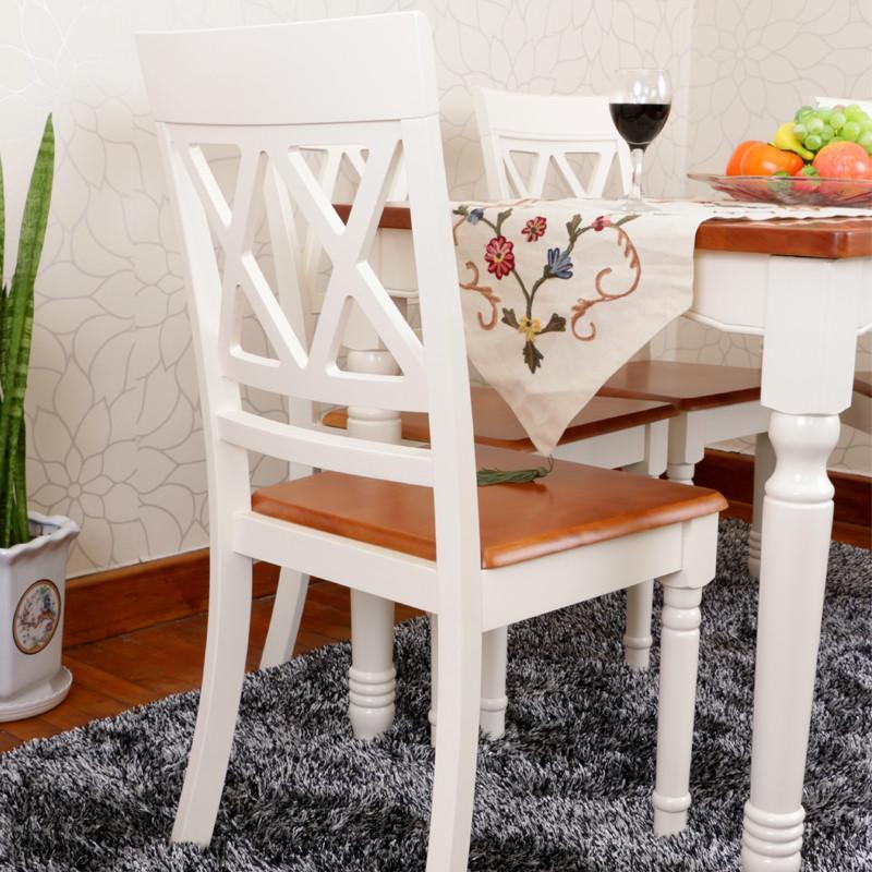 海木源林家具 欧式餐椅 地中海风格双色椅子 爱琴海蓝色调餐椅 象牙白