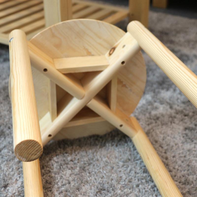 海木源林家具 纯松木圆凳 清漆原木色餐凳 实木凳子 可以摞起来的凳子
