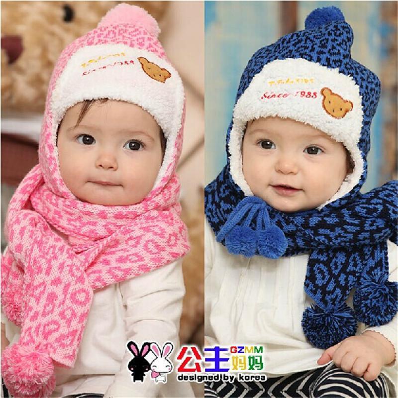 秋冬新款宝宝可爱帽子围巾