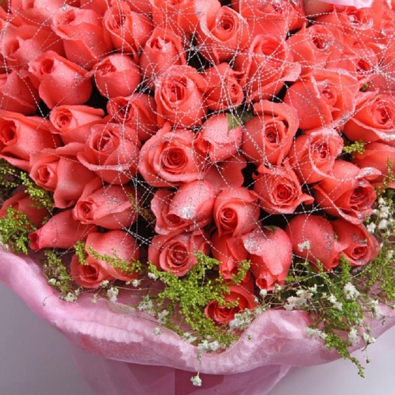 花集鲜花速递 99朵粉玫瑰小熊鲜花花束 爱的嫁纱 送女友 全国免费配送