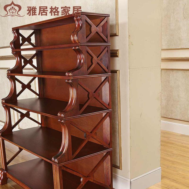 雅居格 美式实木书架 置物架 多层欧式单个书柜 收纳储物柜 f96403 带