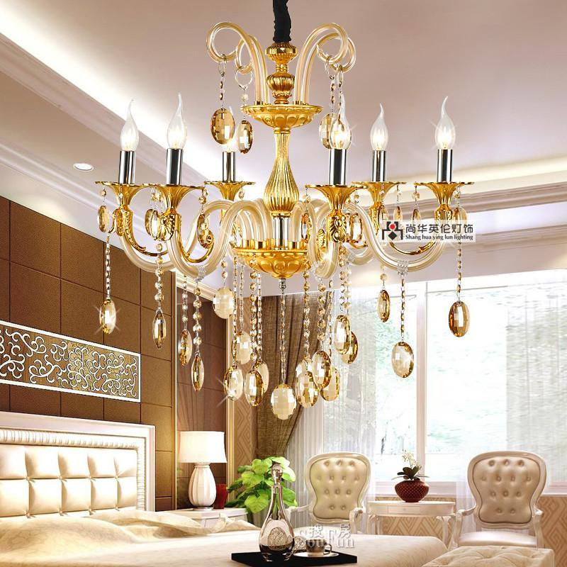 尚华英伦 欧式吊灯客厅灯具灯饰 现代卧室水晶吊灯 简约米黄色餐厅