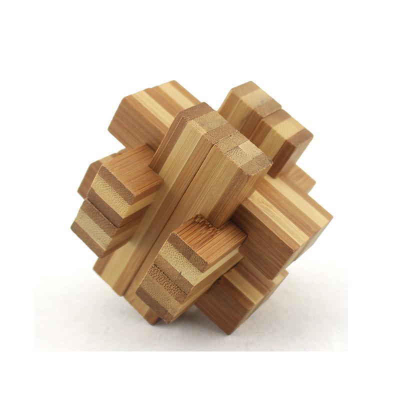 米米智玩 儿童木制孔明锁鲁班锁套装 成人智力拆装玩具【竹制地心异响