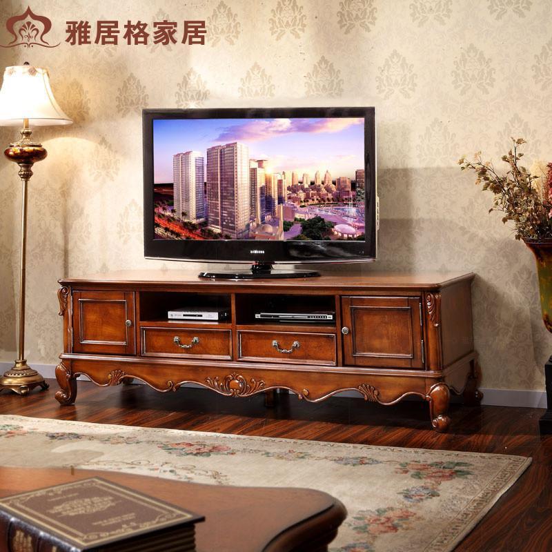 雅居格美式家具实木雕刻电视机柜子特价 欧式地柜组合