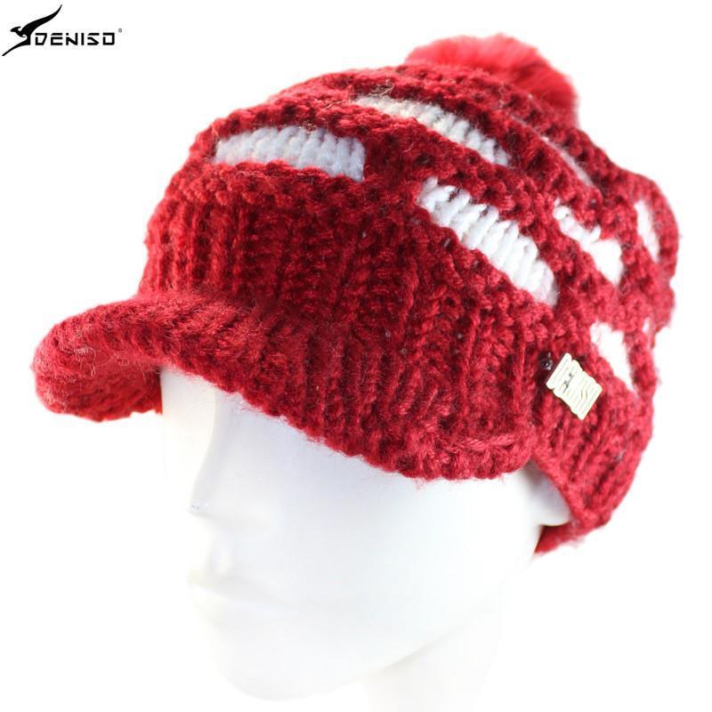 deniso秋冬女款手工编织帽毛线帽针织帽ds-1121