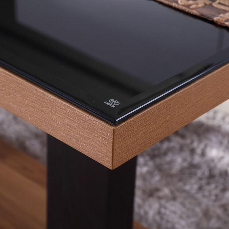 3米黑色钢化玻璃条形长方形现代简约木质小户型北欧宜家风家具 包邮 1