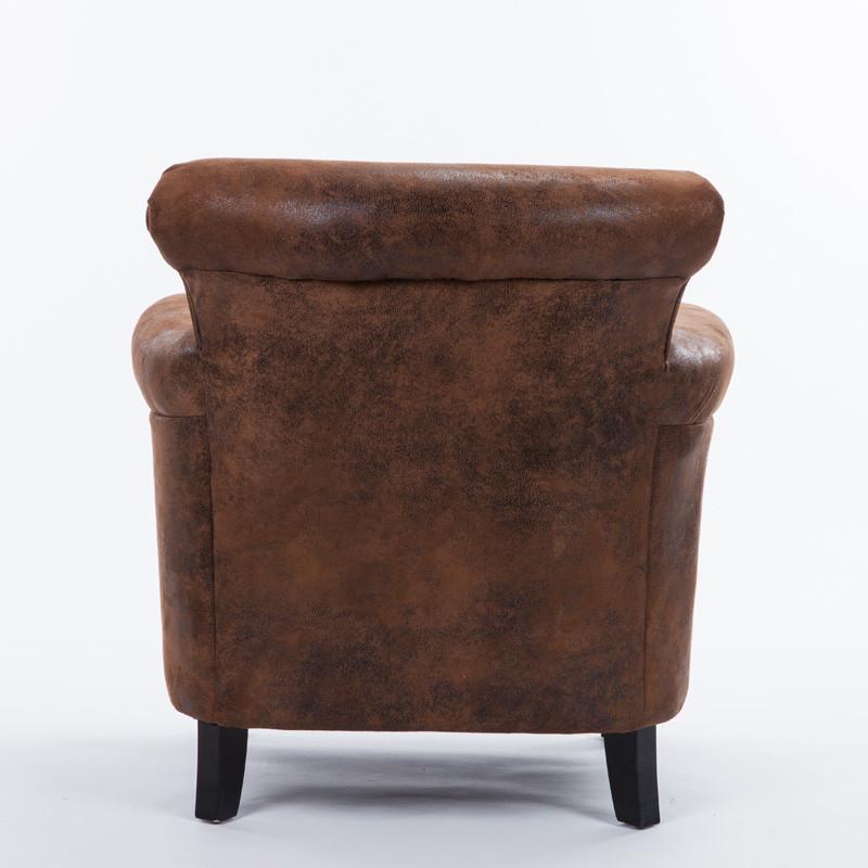 欧式皮布艺单人沙发 软包拉扣设计休闲椅