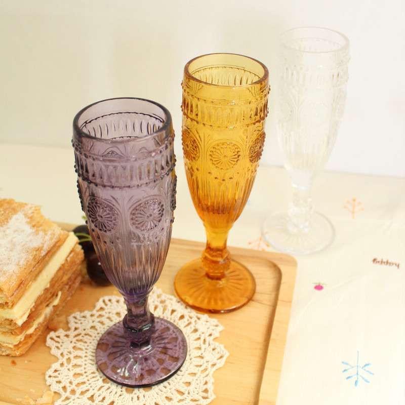 欧式复古雕花红酒杯 浮雕三色