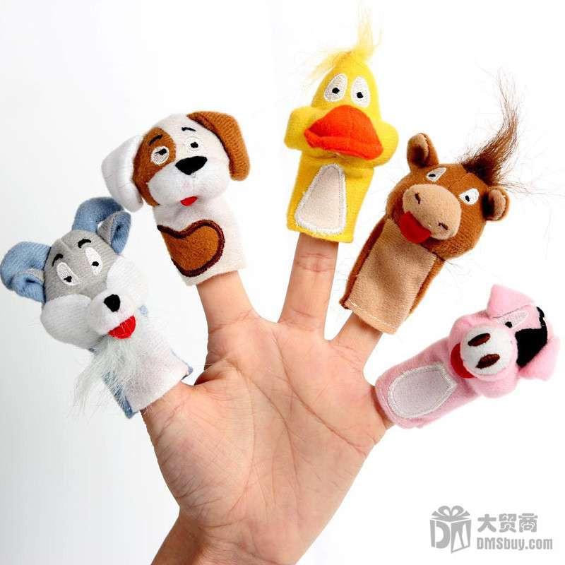 dms大贸商 动物手偶 指偶 幼儿益智玩具动物手指偶5个