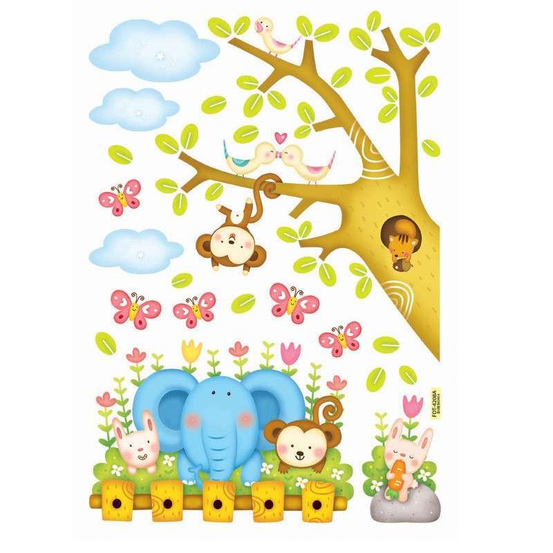 贝贝梦 韩国进口 儿童房墙贴 可移除 卡通夜光贴纸 森林里的小动物