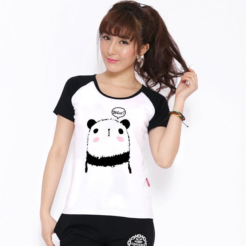 第七公社 2015新款韩版夏装女装t恤 闺蜜装可爱熊猫 纯棉短袖t恤 黑插