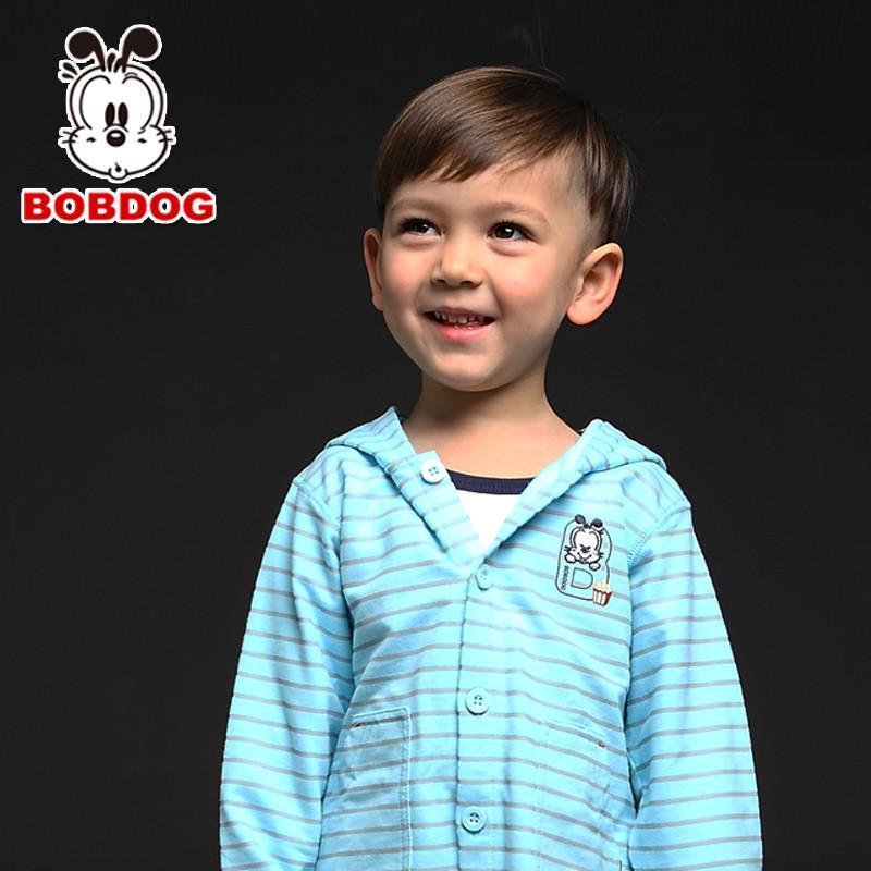 巴布豆(bobdog)卡通可爱连帽外套 婴童系列春季新品男童外套单排扣