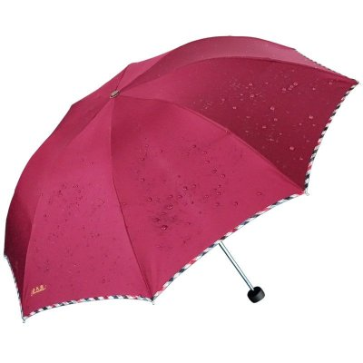 天堂 307E碰高密碰击布商务伞格子布包边三折晴雨伞 商务伞 酱红 酱红色