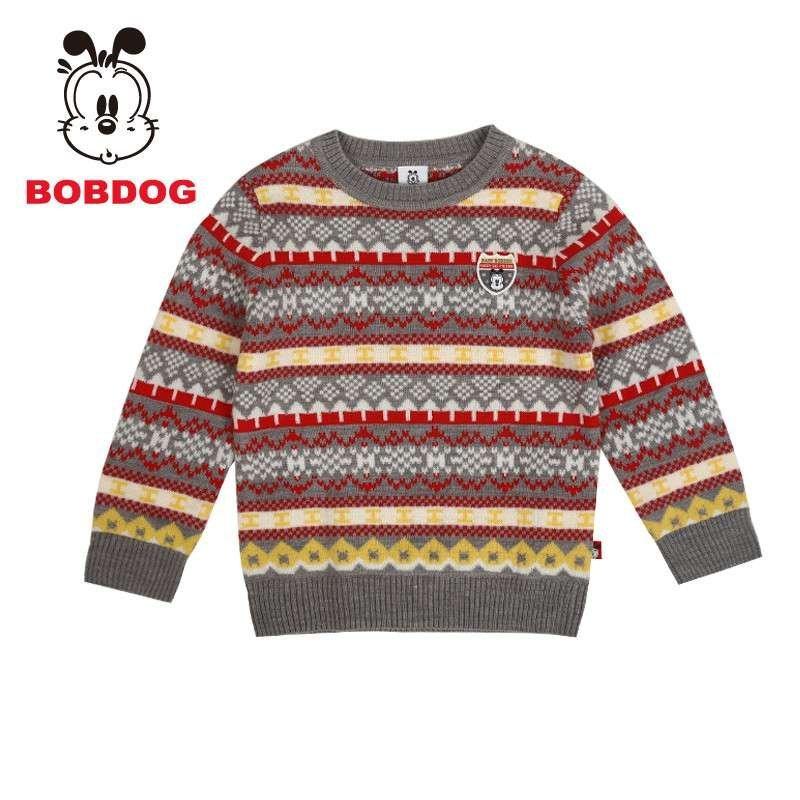 巴布豆(bobdog)钻床上新秋冬v钻床童装花色男童时尚潮流毛衣条纹箱盖系列图片