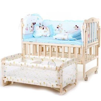 百爱婴儿床实木无漆环保童床 多功能宝宝床婴儿摇篮床好孩子必备BB床 大嘴猴 100*60