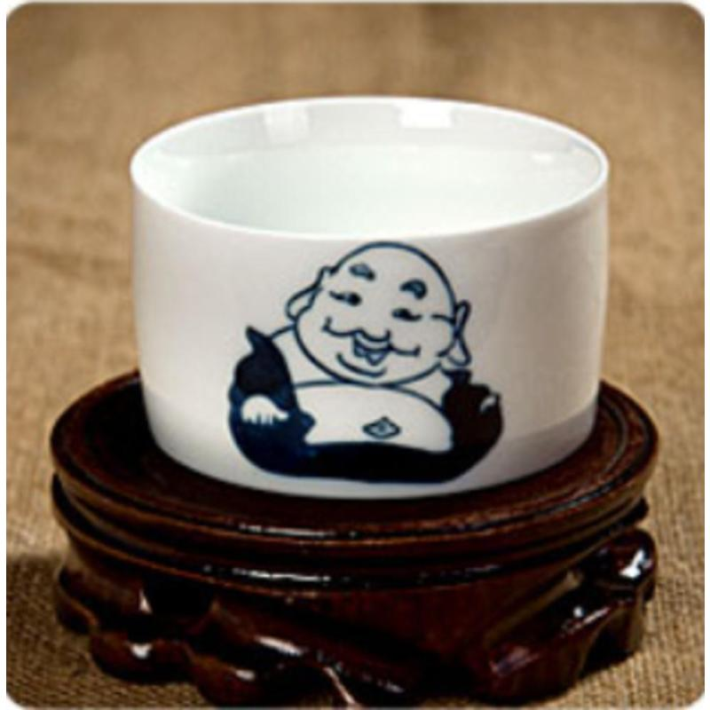 【瑾瑜御瓷】景德镇陶瓷杯子五彩手绘茶杯青花瓷茶杯红茶碗 军绿色