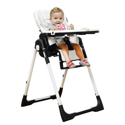 CHBABY晨辉儿童餐椅豪华多功能皮质可折叠便携式餐椅宝宝椅婴儿餐桌502 阿尔卑斯白