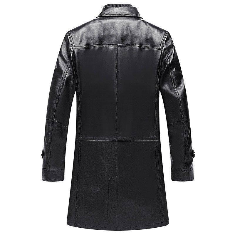 查牧斯 新款真皮皮衣男 男士中長款皮衣 海寧進口綿羊皮風衣男 外套圖片