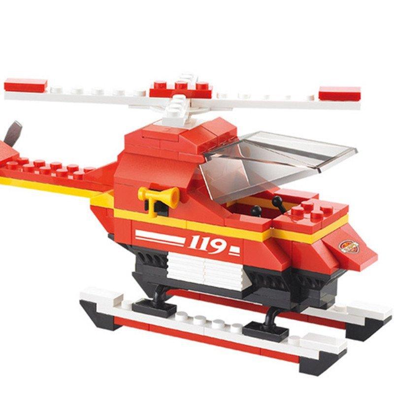 小鲁班积木 消防中心紧急出动消防车警车 儿童益智拼装拼插积木玩具