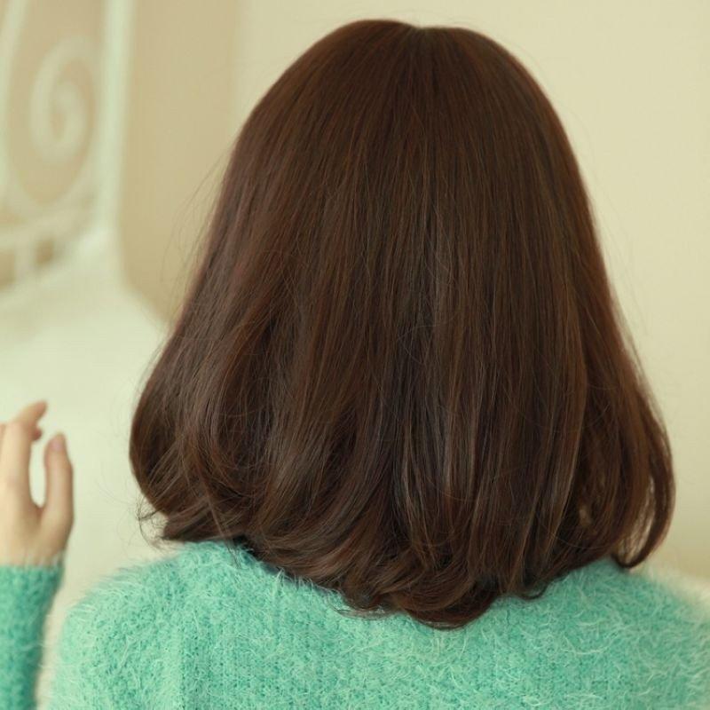 修脸短发斜刘海梨花头假发 短发 中长蛋卷头女生蓬松假发 可爱微卷 实