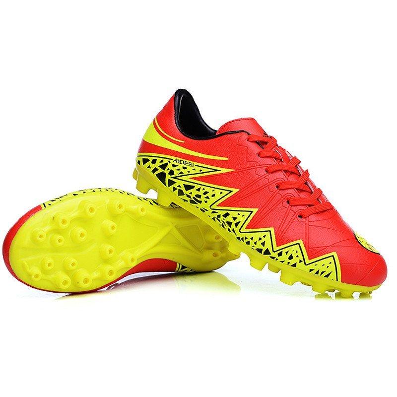 户外休闲运动球鞋 男女儿童足球鞋 透明草地长钉足球鞋 红黄 35