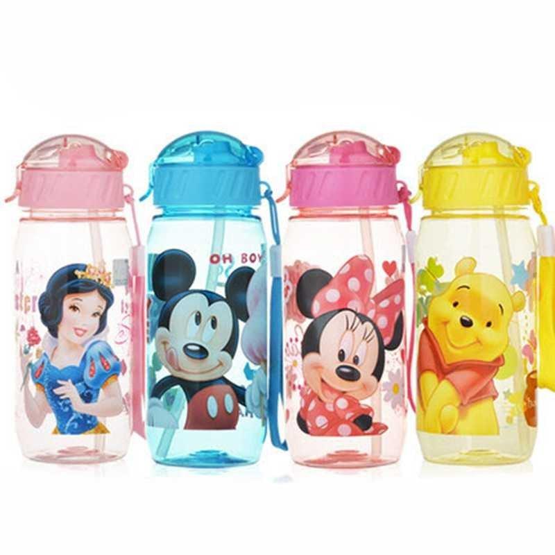 儿童吸管水杯便携塑料杯可爱夏季水壶男女学生卡通防漏杯子 公主粉500