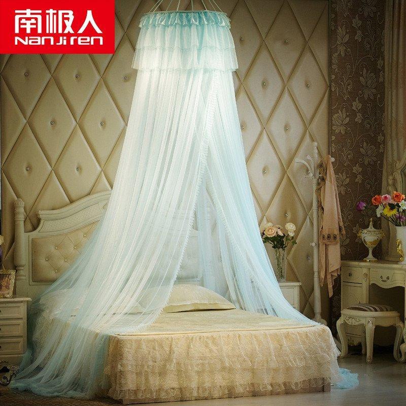 南极人家纺 蚊帐 圆顶公主吊顶蚊帐 适用任何床 天使之恋米黄