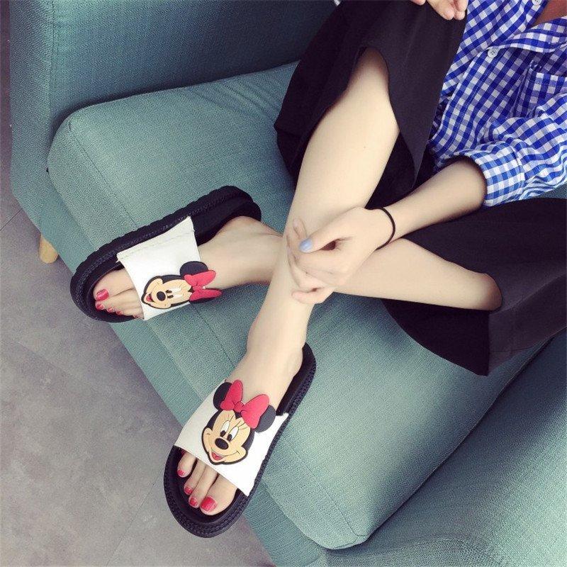 试露趾米奇时尚甜美可爱清纯女鞋拖鞋家居鞋逛街潮鞋百搭女拖鞋凉鞋