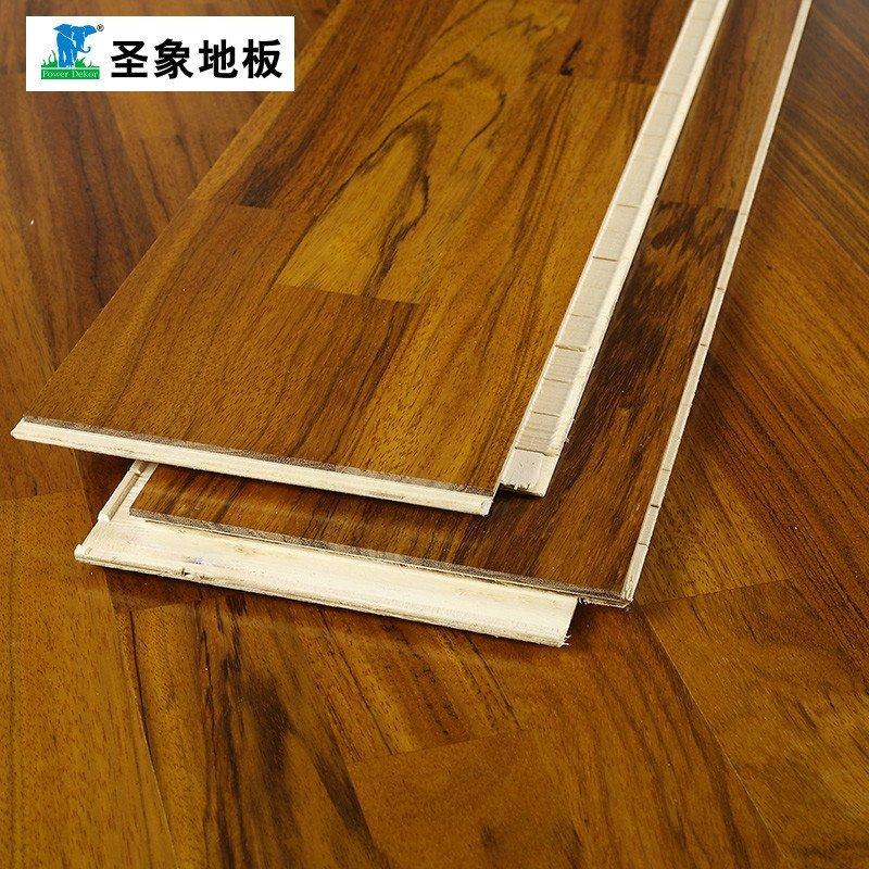 圣象地板自带龙骨三层实木复合地板ky8302王子(赛鞋木豆)线下专卖店同